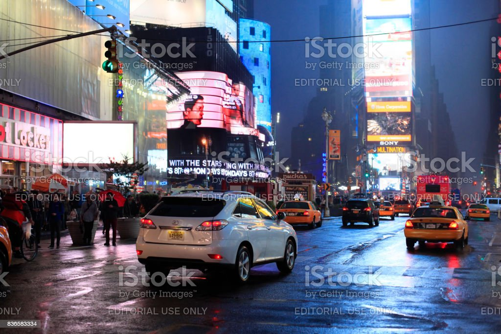 Times Square at night, featured with Broadway Theaters and huge number of LED signs stock photo