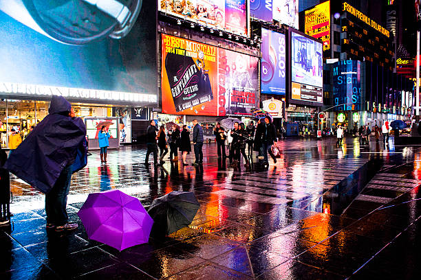 Times Square at Night New York City stock photo