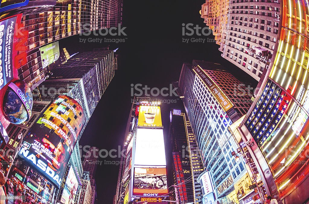 times square billboard on the buildings stock photo