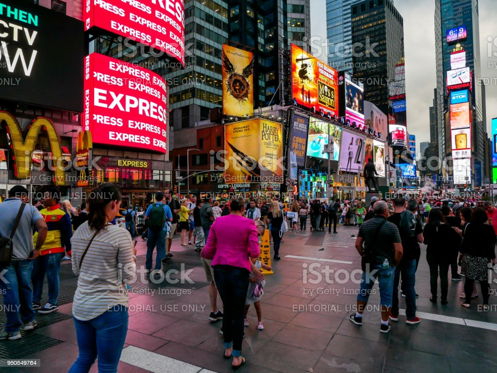 Times Square buildings at night stock photo