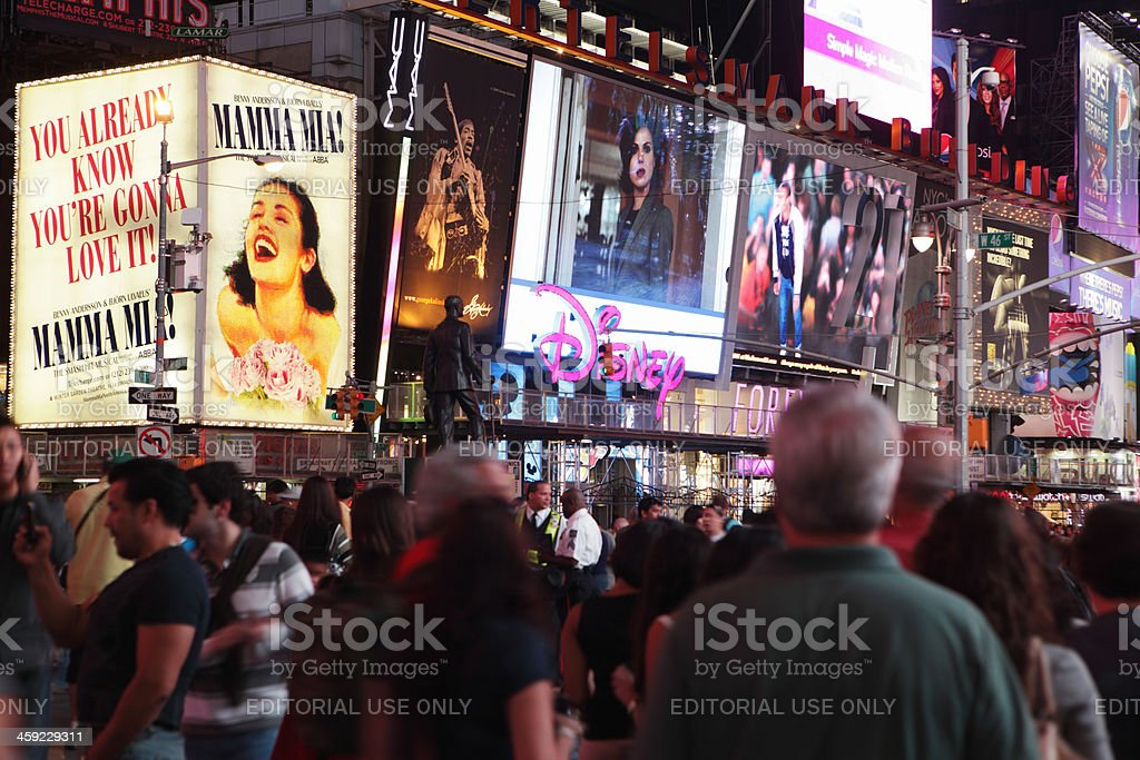 Times Square crowds and theater district billboards stock photo