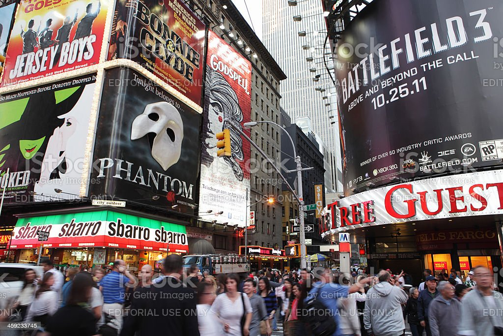 Times Square crowds and theater district billboards royalty-free stock photo