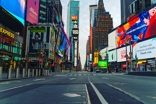 A view of eerily quiet and empty Times Square amid Coronavirus(Covid-19) Pandemic.