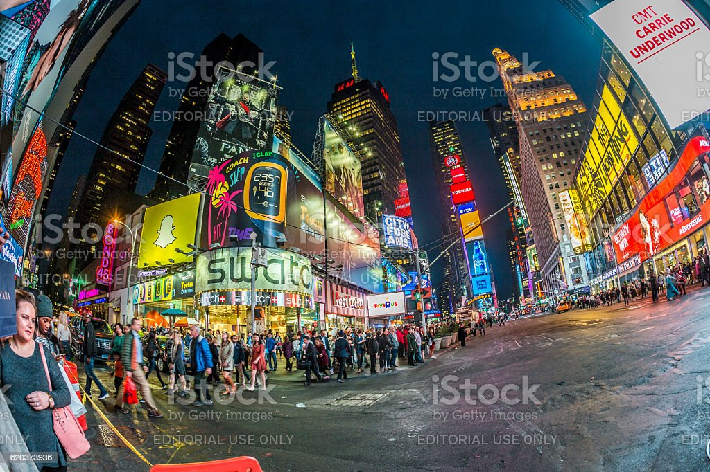 Times Square, featured with advertising in the evening foto de stock royalty-free