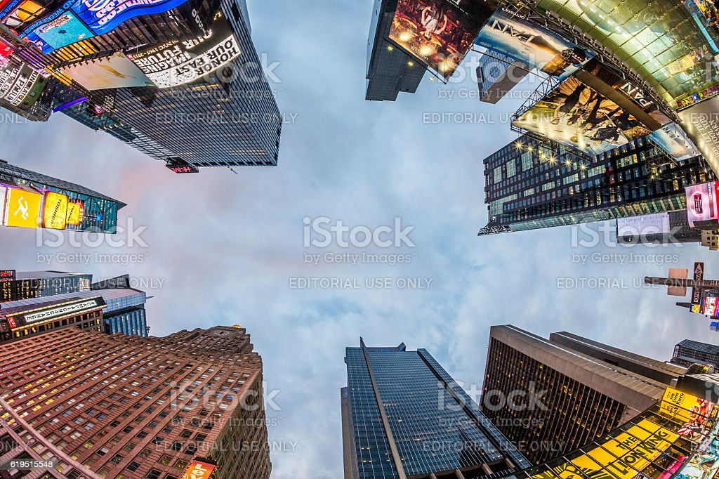 Times Square, featured with Broadway Theaters and ads stock photo