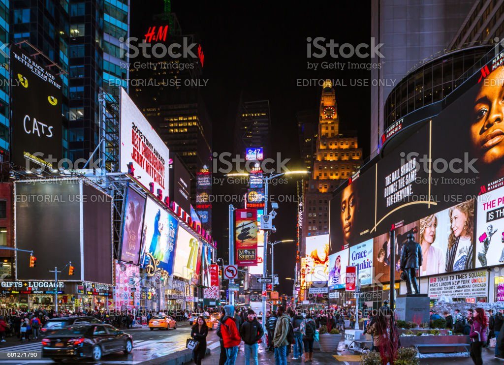 Times Square, featured with Broadway Theaters and animated colorful LED stock photo