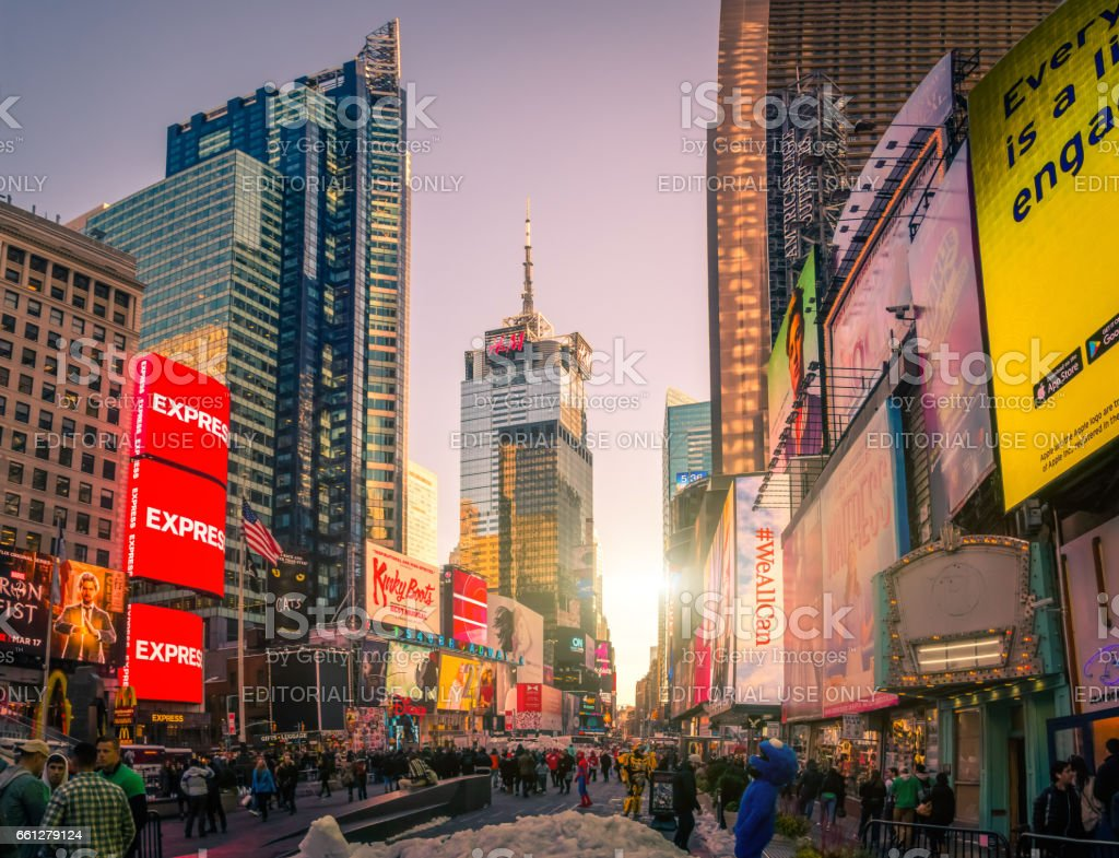 Times Square, featured with Broadway Theaters and animated colorful stock photo