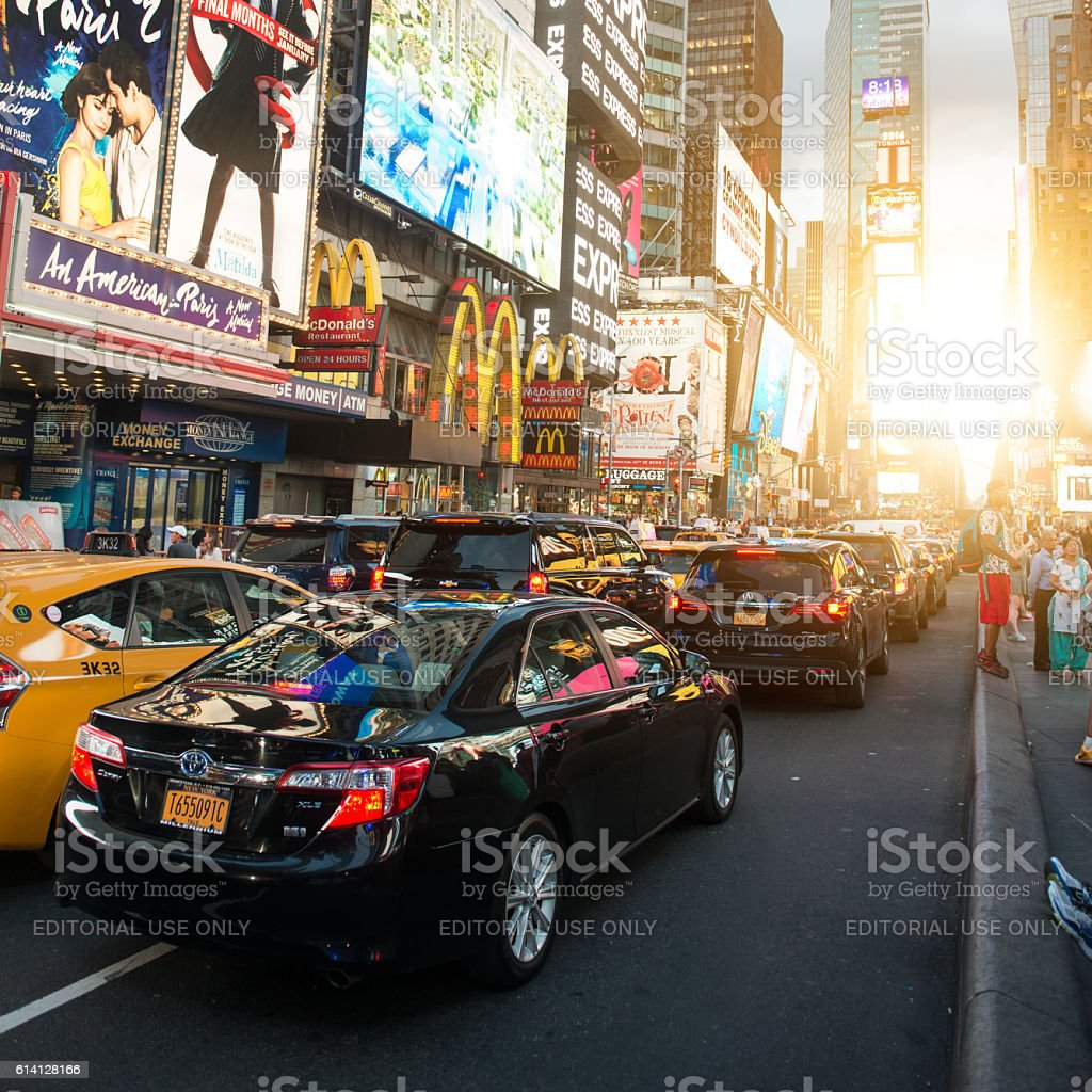 Times Square featured with Broadway Theaters and animated LED signs stock photo