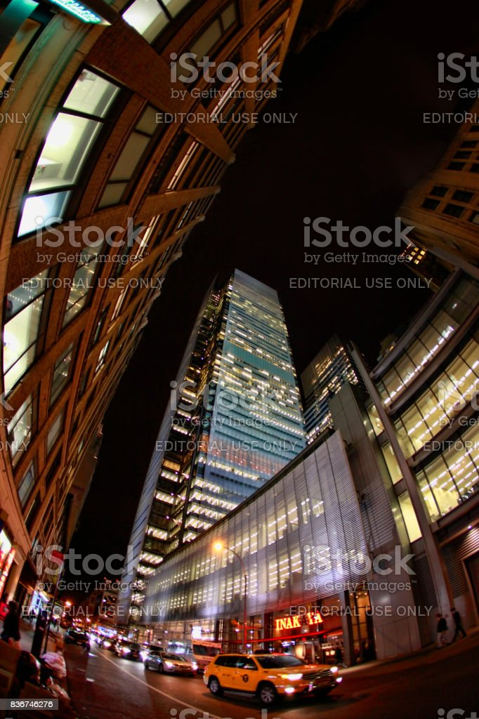 Times Square, featured with Broadway Theaters and huge number of LED signs stock photo