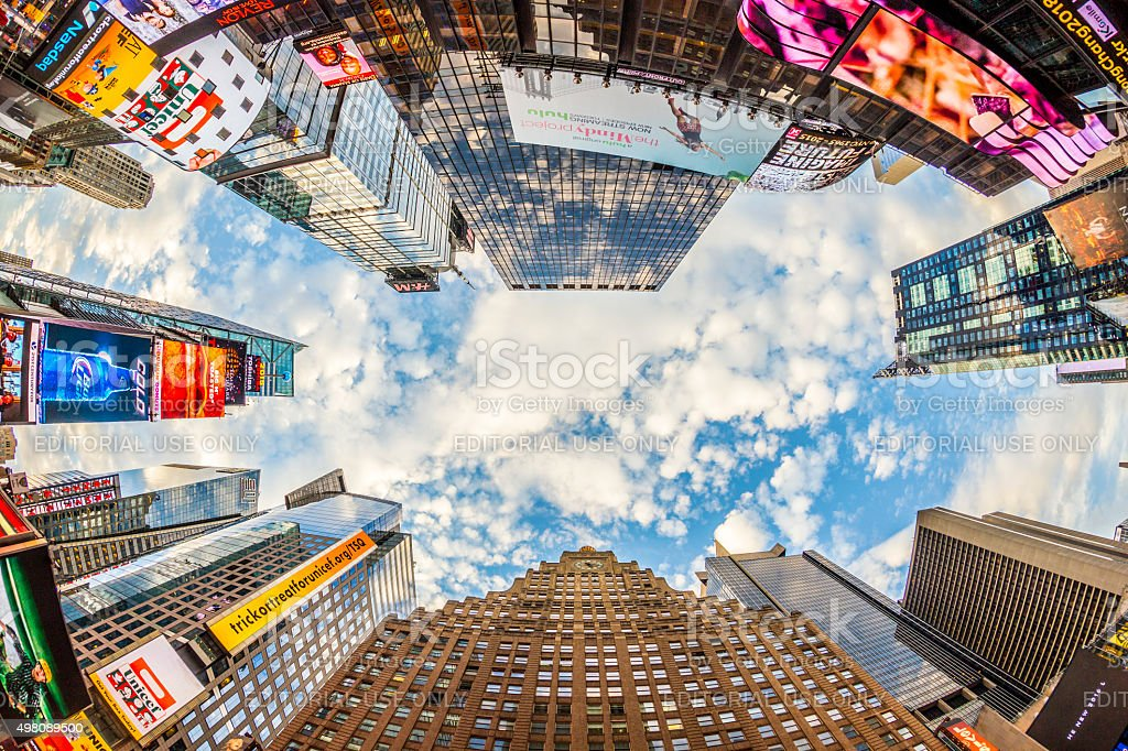 Times Square, featured with Broadway Theaters in early morning stock photo