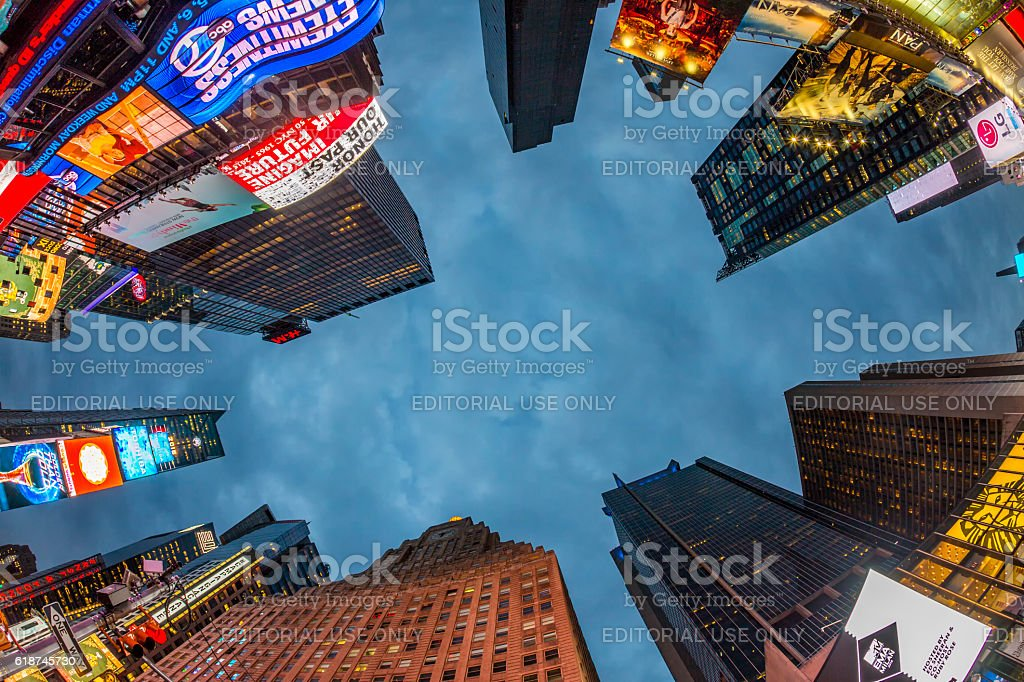 Times Square, featured with Broadway Theaters stock photo