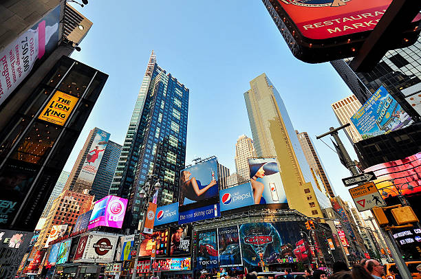 Times Square in Late Afternoon - Manhattan, New York City stock photo