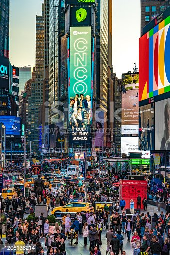 This is Times Square, a famous shopping and entertainment area in Midtown Manhattan on October 15, 2019 in New York