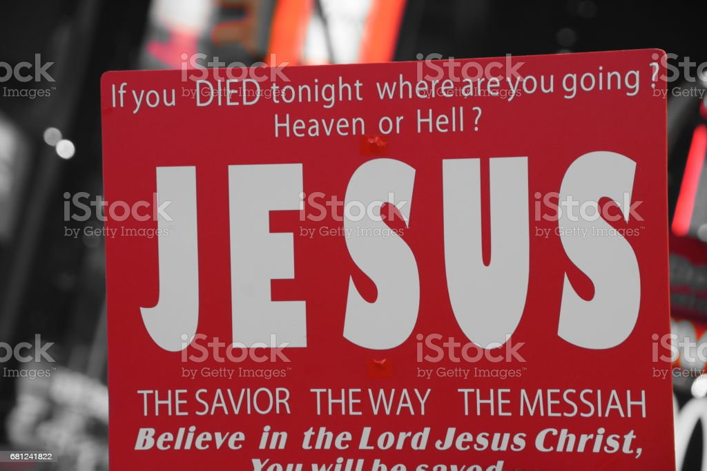Times Square- Jesus protest stock photo