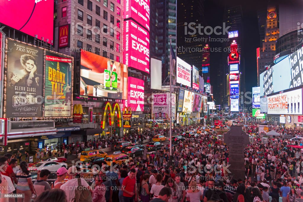 Times Square late at night. stock photo