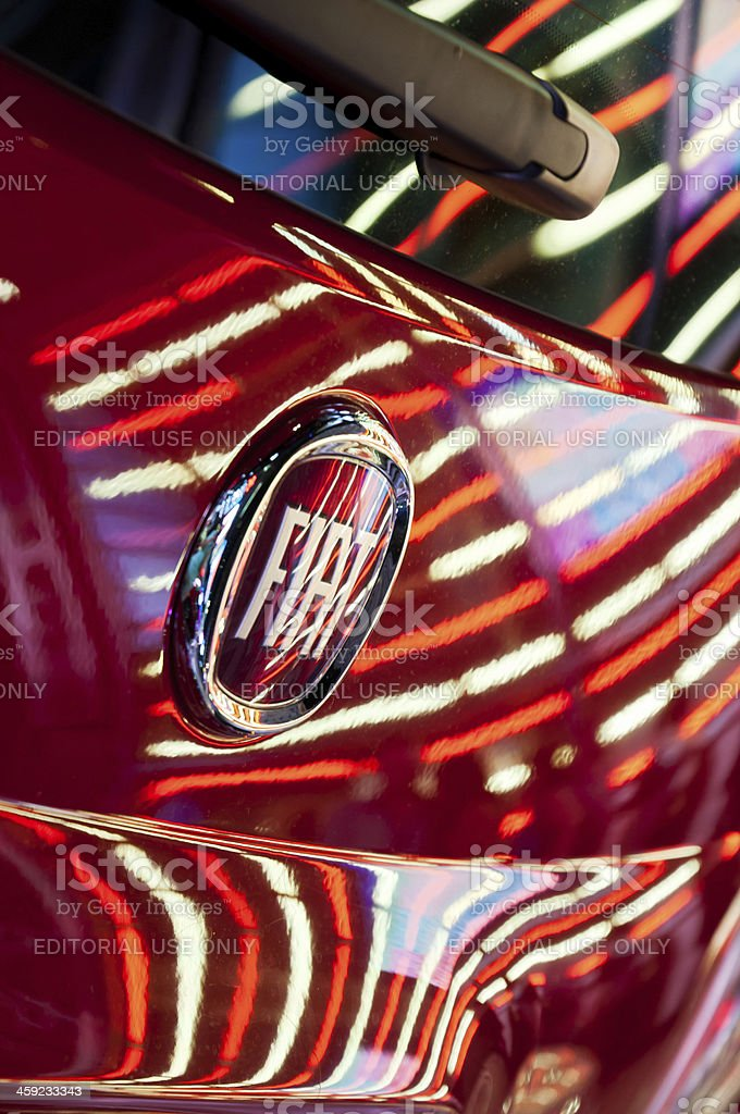 Times Square light streaks on new Fiat SpA 500 royalty-free stock photo