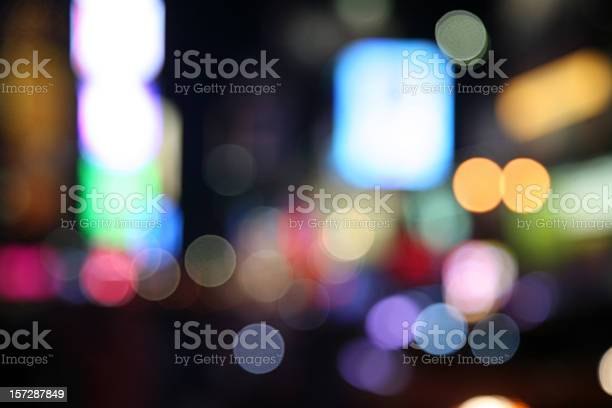 Times Square Lights Defocused Stock Photo - Download Image Now