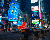 New York City, USA - May 31, 2013: This photo shows the busy and crowded Times Square at Manhattan in New York City during night.