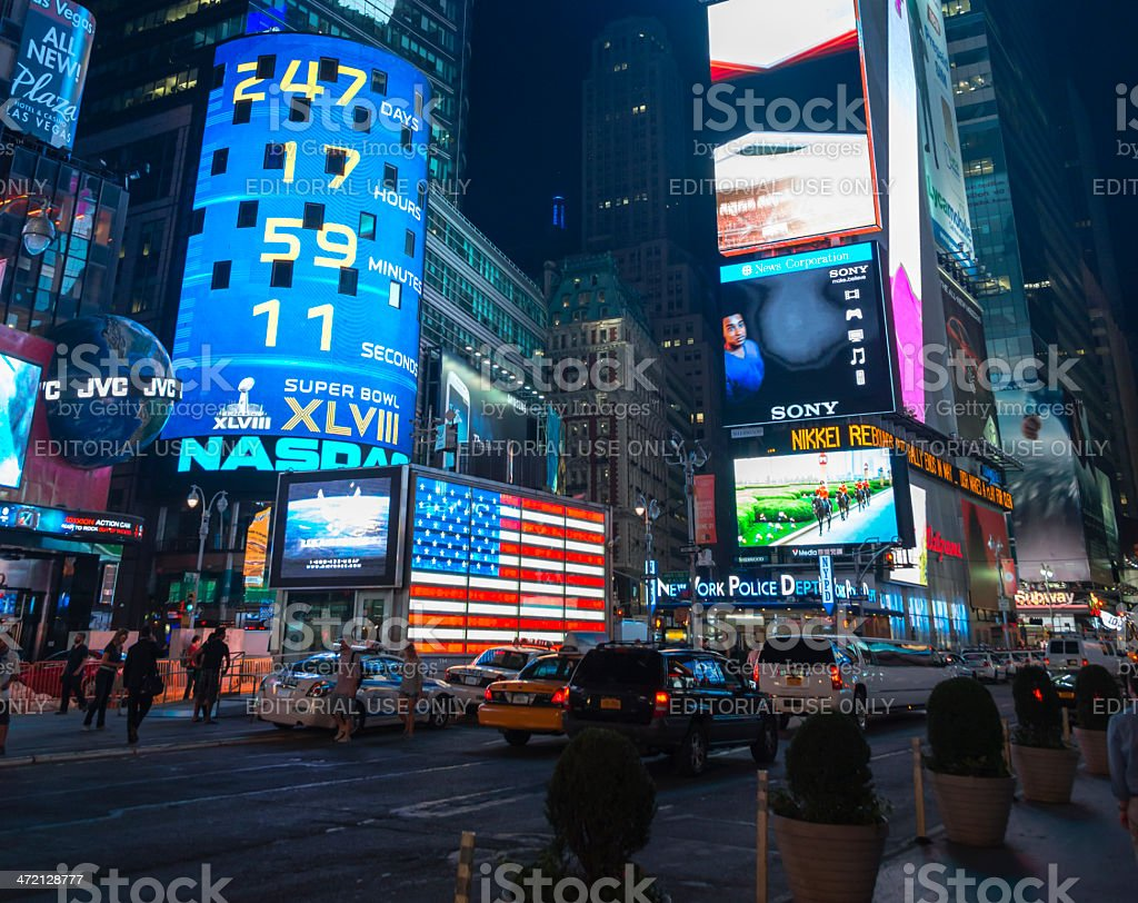 Times Square Manhattan at night stock photo