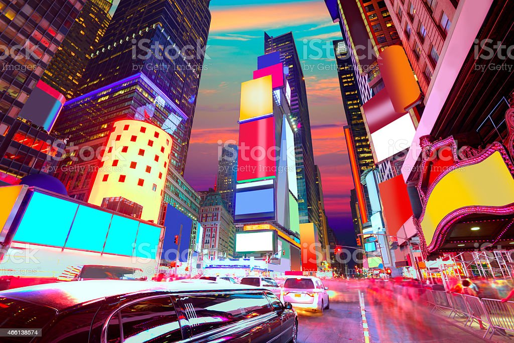 Times Square Manhattan New York deleted ads stock photo