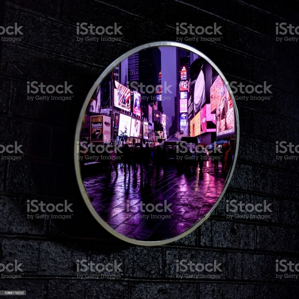 Times Square Mirror Reflection stock photo