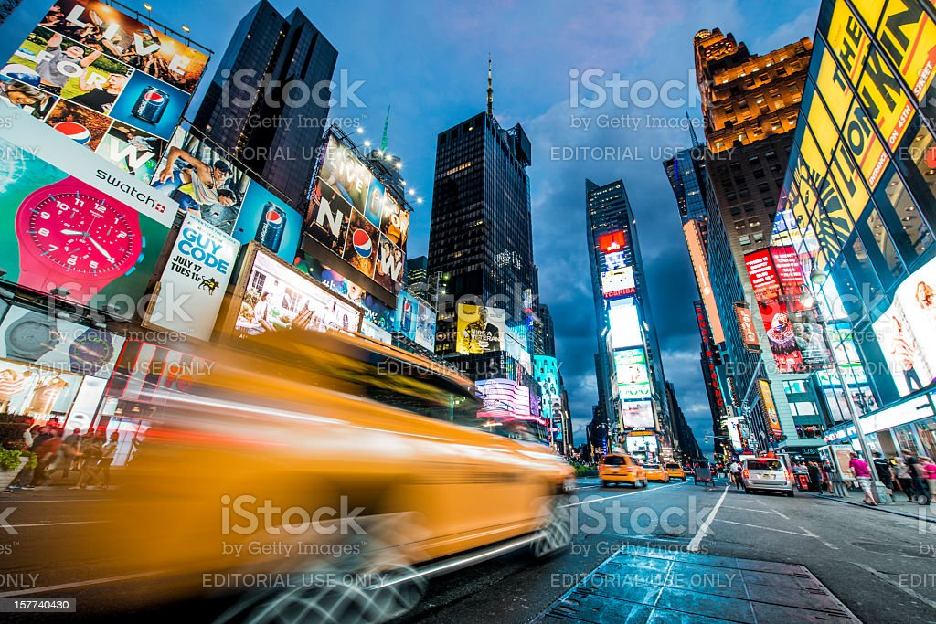 Times Square, New York a warm summer night stock photo