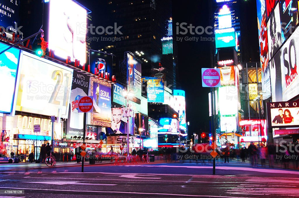 Times Square New York City at night stock photo