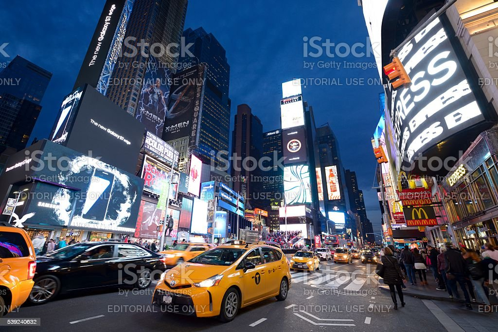 Times Square New York City at night royalty-free stock photo