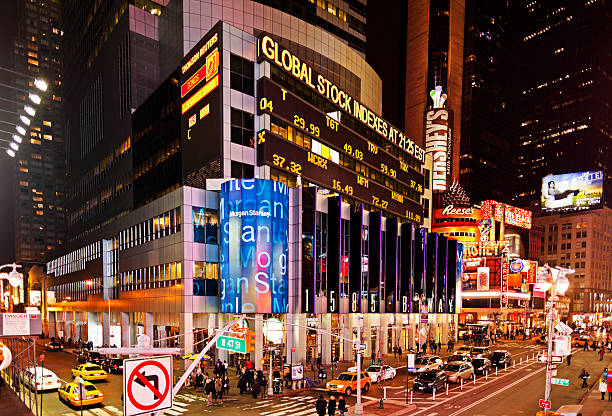 Times Square New York Morgan Stanley building stock photo