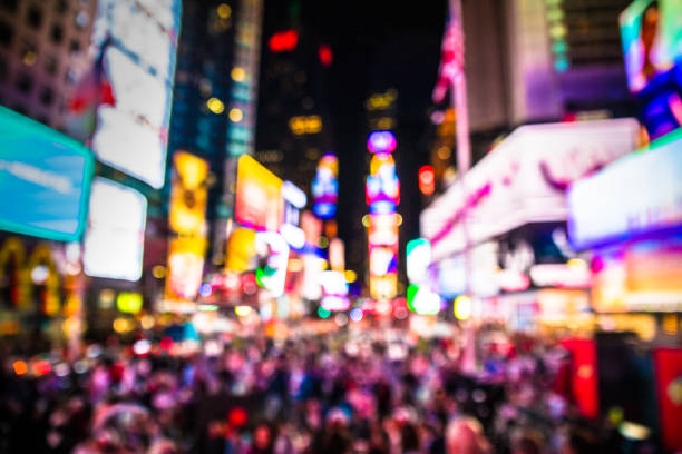 times square nyc blur - times square stock photos and pictures