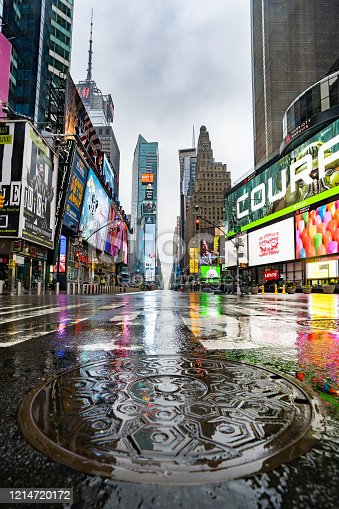 Wide-angle photo of Times Square taken in the morning during COVID-19 (Corona virus) pandemic in NYC with the streets empty, no people! A very very rare sight to see