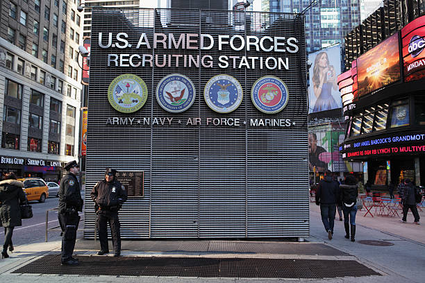 Times Square NYC US Armed Forces Recruiting Station stock photo