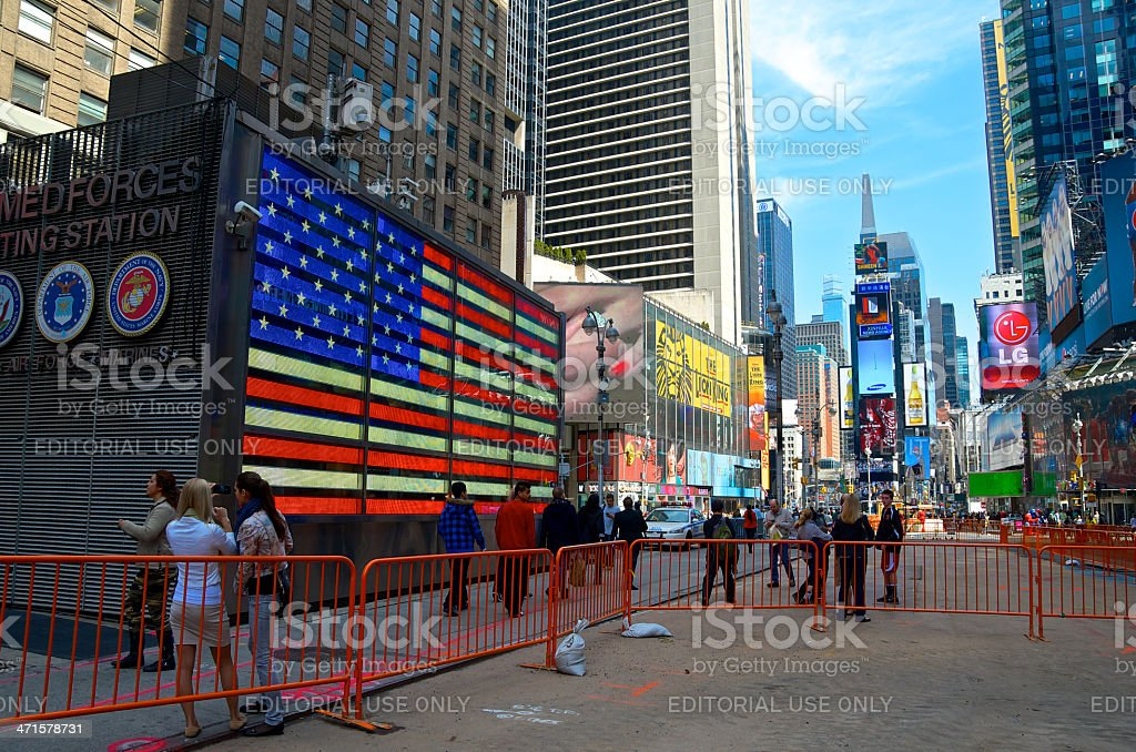 Times Square NYPD CCTV Cameras & Tourists, New York City royalty-free stock photo