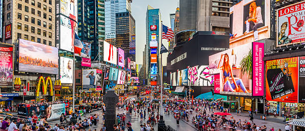 times square panorama - times square stock photos and pictures