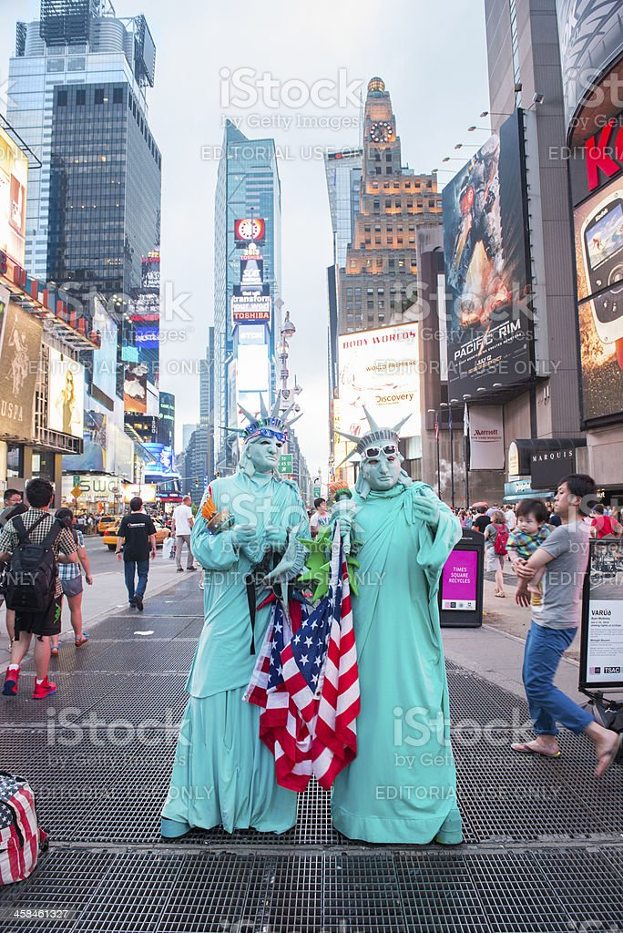 Times Square Statue of Liberty Street Performers royalty-free stock photo