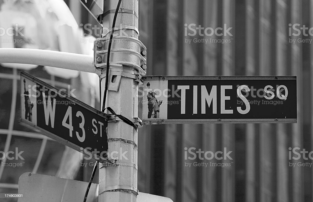 Times Square street sign stock photo