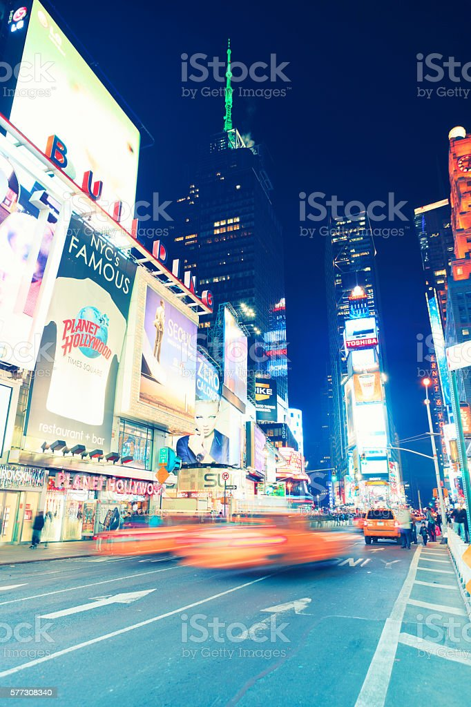 Times Square with car traffic stock photo
