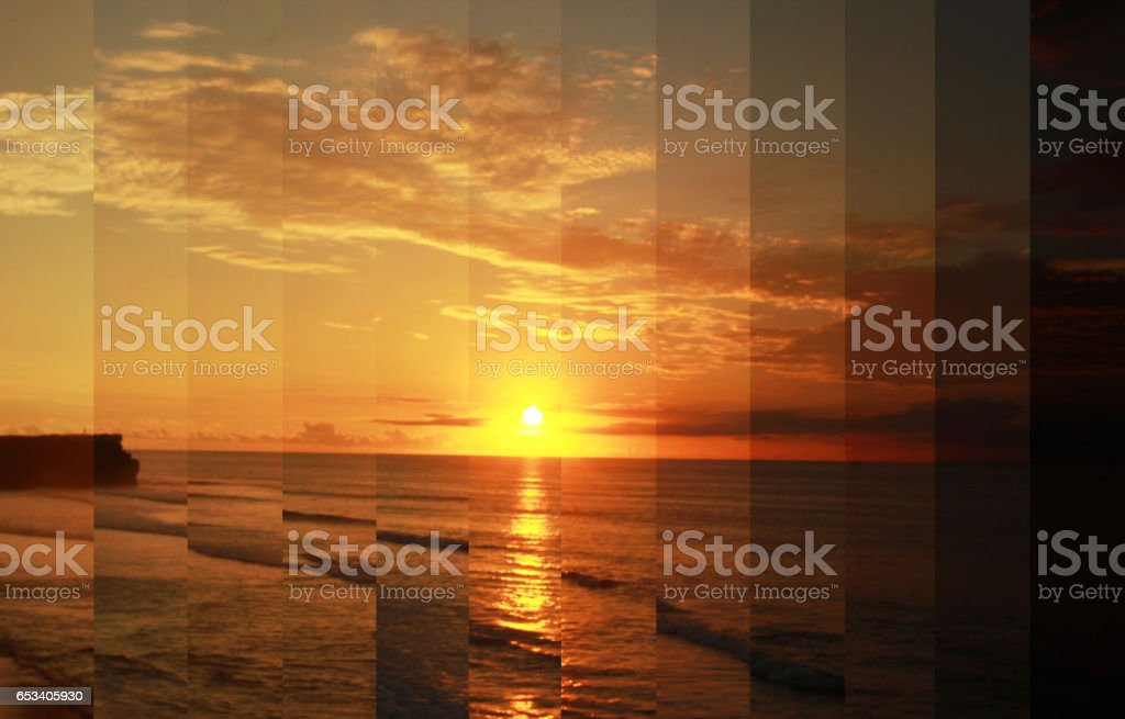 Timeslice, sunset day to night, time lapse photography stock photo