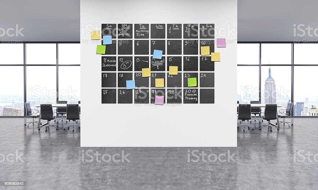 Timetable in office stock photo