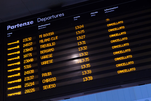 Timetable shows cancelled trains during strike.