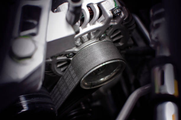Timing belt of alternator. Timing belt of alternator in engine room of car, automotive part concept. timer stock pictures, royalty-free photos & images