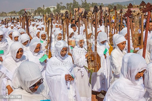 Large music band marches during the Timkat Festival, an annual Orthodox Christian celebration of the Epiphany, in Addis Ababa, Ethiopia.