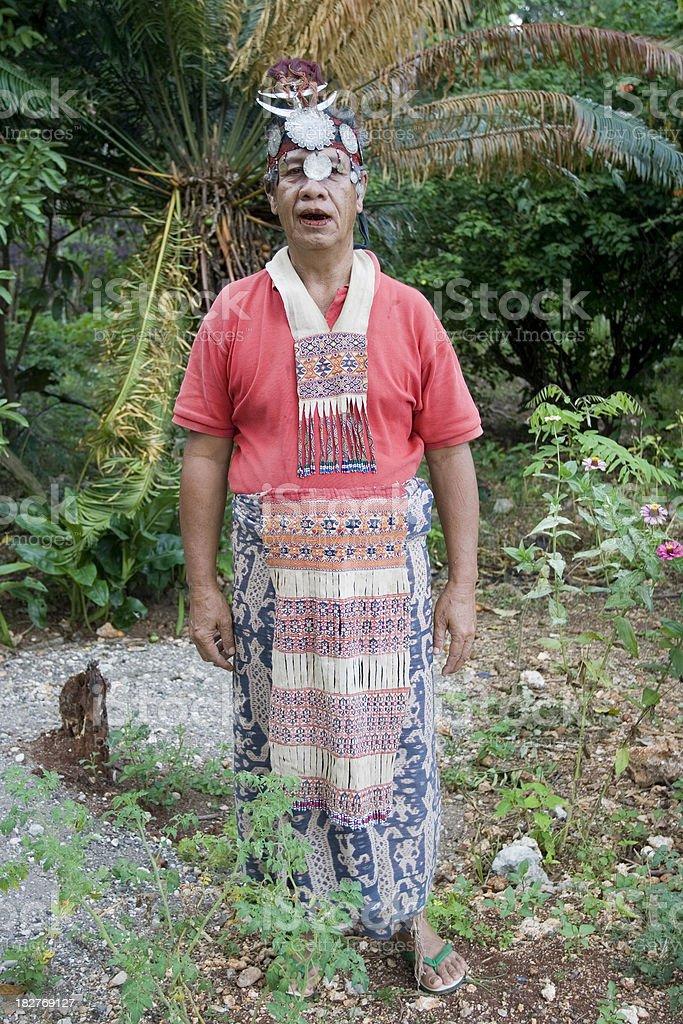 Timorese  senior tribal chief stock photo