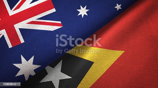 Timor-Leste East Timor and Australia flags together textile cloth, fabric texture