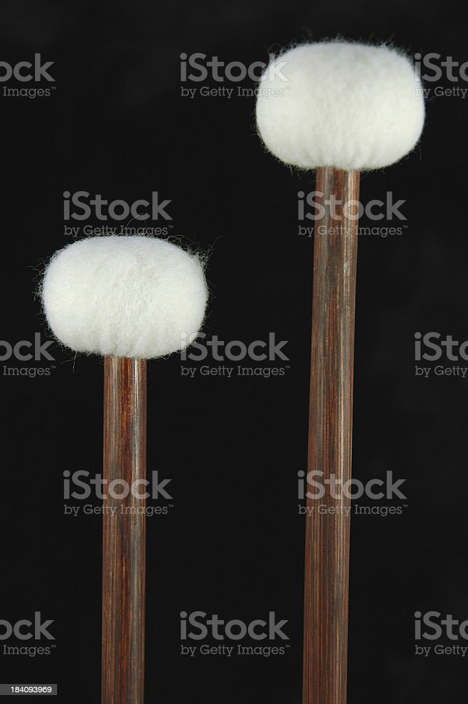 Timpani Mallets on Black stock photo