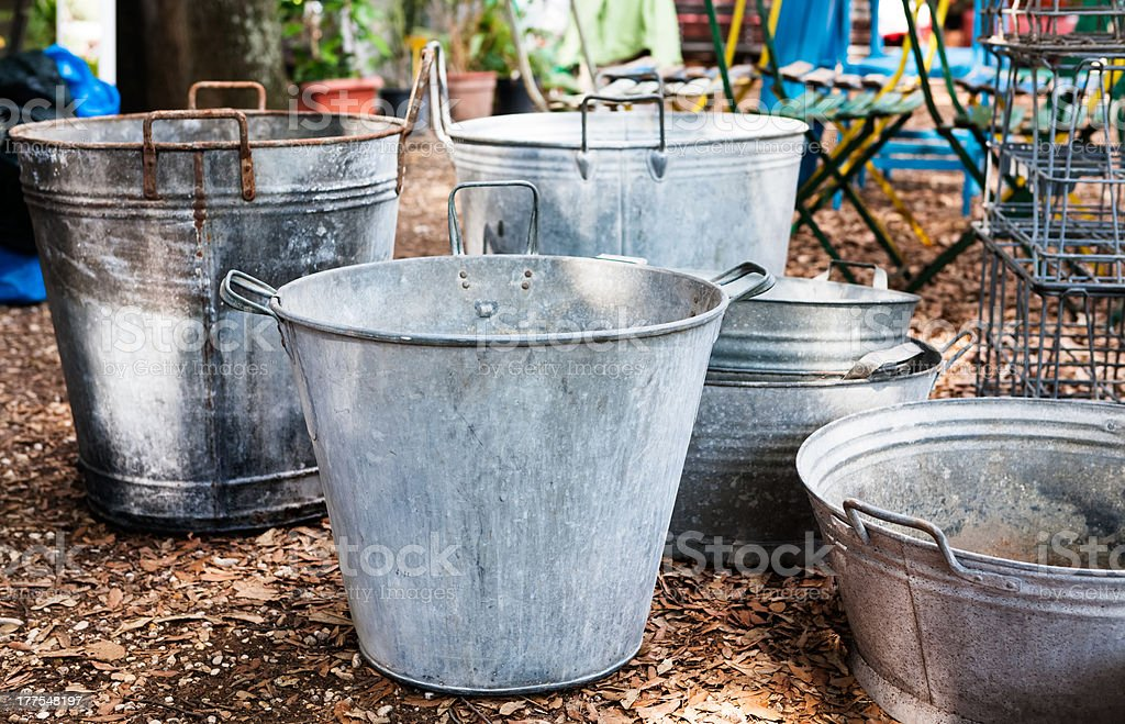 Tin Buckets stock photo