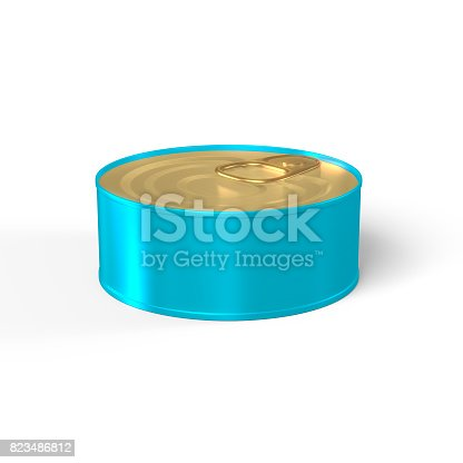 istock Tin Can 3D Rendering blank in Blue and Gold 823486812