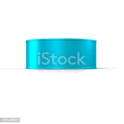 istock Tin Can 3D Rendering blank in Blue and Gold 823486824