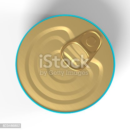 istock Tin Can 3D Rendering blank in Blue and Gold 823486852
