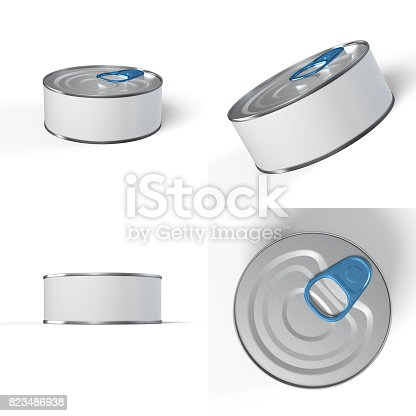 istock Tin Can 3D Rendering blank 823486938